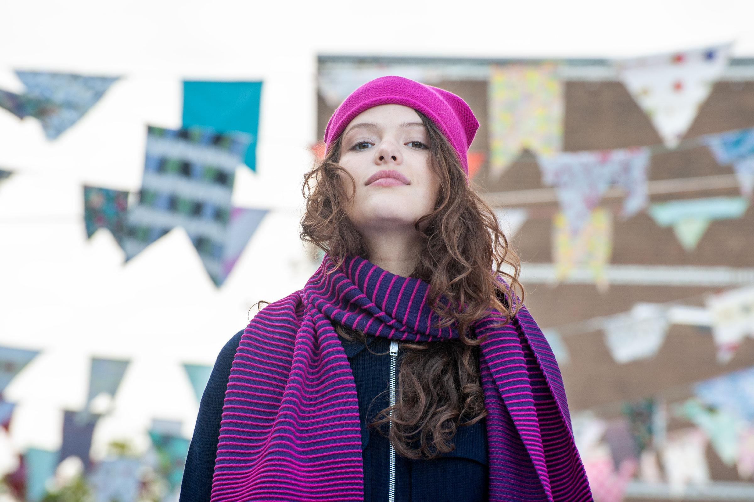 Striped gradient scarf